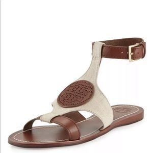 Tory Burch perforated logo sandal 10.5